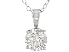 White Lab-Grown Diamond 14K White Gold Solitaire Pendant 1.00ctw
