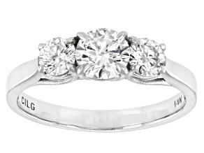 White Lab-Grown Diamond 14k White Gold 3-Stone Ring 1.00ctw