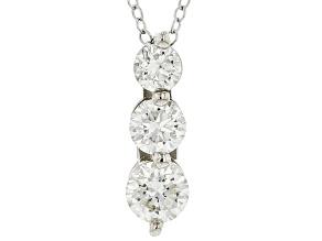 White Lab-Grown Diamond 14k White Gold 3-Stone Pendant With Chain 1.00ctw