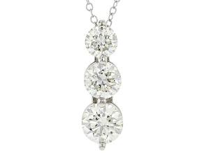 White Lab-Grown Diamond 14k White Gold 3-Stone Pendant With Chain 2.00ctw