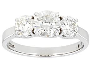 White Lab-Grown Diamond 14k White Gold 3-Stone Engagement Ring 1.50ctw