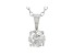 Round White Lab-Grown Diamond 14K White Gold Solitaire Pendant With Cable Chain 0.75ct