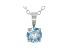 0.75ct Round Blue Lab-Grown Diamond 14K White Gold Solitaire Pendant With Cable Chain