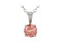 0.75ct Round Pink Lab-Grown Diamond 14K White Gold Solitaire Pendant With Cable Chain