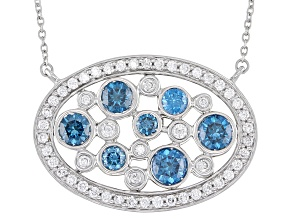 Blue And White Lab-Grown Diamond 14k White Gold Necklace 2.00ctw