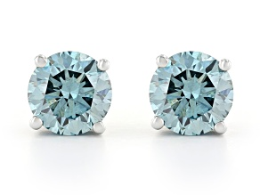 Blue Lab-Grown Diamond 14K White Gold Stud Earrings 1.00ctw