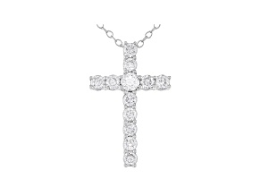 White Lab-Grown 14k White Gold Cross Pendant With Chain 1.00ctw