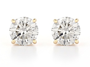 White Lab-Grown Diamond 14K Yellow Gold Stud Earrings 2.00ctw
