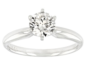 White lab-Grown Diamond 14k White Lab-Grown Diamond 14k White Gold Solitaire Engagement Ring 0.90ctw