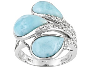 Pear Shape Blue Larimar 1.39ctw White Topaz .925 Sterling Silver 3-Stone Ring