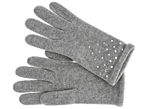 Light Heather Gray 100% Cashmere Gloves with Jewel Accents