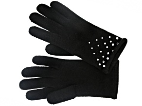 Black 100% Cashmere Gloves with Jewel Accents