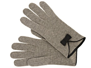 "Nile Brown 9"" 100% Cashmere Glove with Brown V-Shape Leather Piping and Bow"