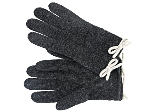 "Grigio Scuro Gray 8.5""Gloves with Neutral Heather Lambs wool Blended Bow"