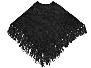 Black Chenille Poncho 100% Polyester