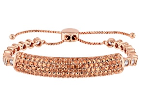 Rose Tone with Rose and White Crystal Bolo Bracelet
