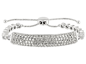 Silver Tone with White Crystal Bolo Bracelet