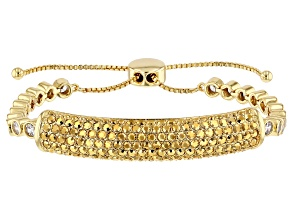 Gold Tone with Gold and White Crystal Bolo Bracelet