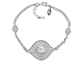 Silver Tone with White Crystal Evil Eye Station Bracelet