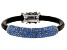 Gunmetal Tone Blue Crystal Leather Bracelet