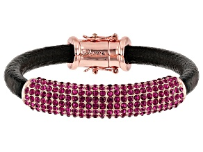 Rose Tone Pink Crystal Leather Bracelet