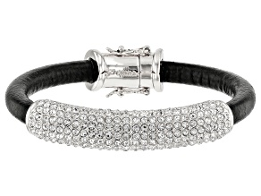 Silver Tone White Crystal Leather Bracelet