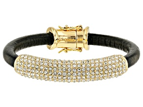 Gold Tone White Crystal Leather Bracelet