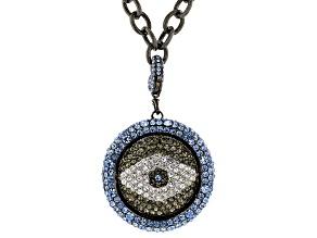 Gunmetal Tone Black and Blue Crystals Evil Eye Necklace
