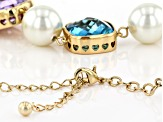 Gold Tone Multi Color Glass and Pearl Simulant Necklace