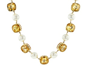 Gold Tone Yellow Glass and Pearl Simulant Necklace