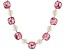 Joan Boyce Gold Tone Pink Glass and Pearl Simulant Necklace