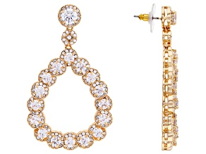 Gold Tone with White Cubic Zirconia Dangle Earrings 20.00ctw