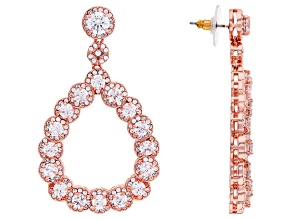 Rose Tone with White Cubic Zirconia Dangle Earrings 20.00ctw