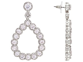 Silver Tone with White Cubic Zirconia Dangle Earrings 20.00ctw