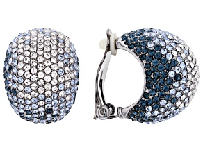 Gunmetal Tone with Shades of Blue and White Crystal Clip- On Earrings