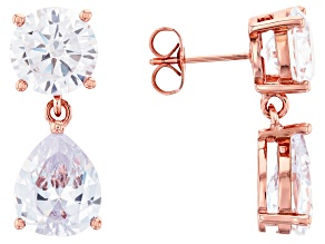 Rose Tone Over Brass with Cubic Zirconia Earrings 23.08ctw