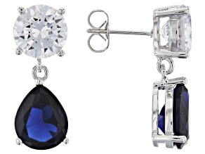 Blue Crystal with White Cubic Zirconia Brass Earrings 8.68ctw