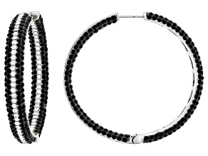 Brass Black and White Crystal Hoop Earrings