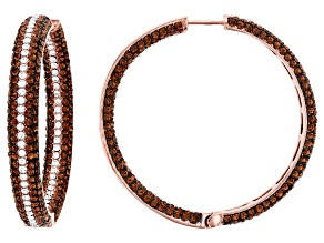 Rose Tone Brass with Brown and White Crystal Hoop Earrings