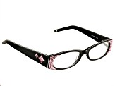 Black Frame with Pink Swarovski Elements ™ Crystal Reading Glasses 2.00 Strength