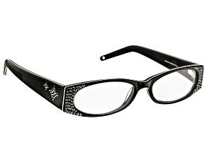 2.00 Strength Black Frame with Black Swarovski Elements ™ Crystal Reading Glasses