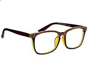 Swarovski Elements™  Crystal, Brown Frame Reading Glasses  2.00 Strength