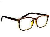 Swarovski Elements™  Crystal, Brown Frame Reading Glasses  2.00 Strength