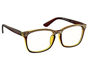 Swarovski Elements ™Crystal Brown Frame Reading Glasses 2.50 Strength