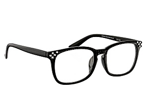 Swarovski Elements™ Crystal, Black Frame Reading Glasses 2.00 Strength