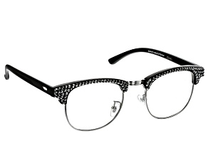 2.00 Strength Black  Frame with Black Crystal Accent Reading Glasses