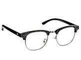 2.00 Strength Black  Frame with Black Swarovski Elements™Crystal Accent Reading Glasses