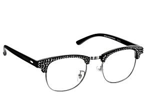 2.50 Strength Black  Frame with Black Swarovski Elements™ Crystal Accent Reading Glasses