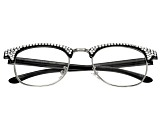1.50 Strength Black  Frame with White Swarovski Elements™ Crystal Accent Reading Glasses