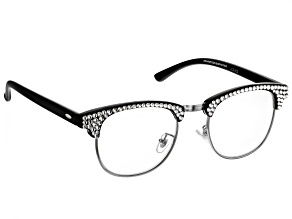 2.00 Strength Black  Frame with White Crystal Accent Reading Glasses